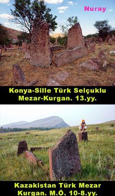 TÜRK KOZMOLOJİSİM.Ö. 10-8. yüzyıla tarihlenen Türk mezar Geleneğinin Öncellerinden olan Kurgan Mezar ve Konya Silledeki Selçuklu Türklerine ait Kurgan-Mezar.. Gelenek, Kolektif Bilinçaltında GÖÇ ETMİŞ..Türkler Göç ettikleri her yere Taşımışlar bu geleneği. Taşlara olan Saygı ve Sevgileri devam etmiş.