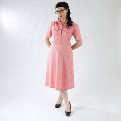 Cute Pink/Red Vintage Dress- Button Top with Pockets, Cap Sleeves on Etsy, $35.00