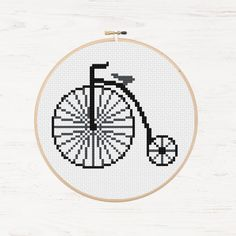 Vintage Bike Cross Stitch Pattern Retro Bicycle Penny-Farthing Instant Download PDF Cycling Hobby Embroidery Hipster Vintage Cross Stitch by Stitchonomy