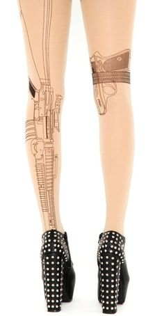 Machine gun tights. I don't know, I just kinda think guns on the leg are hot. Like Mr. and Mrs. Smith hot.