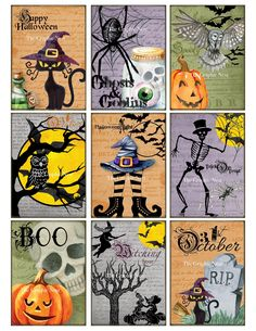 Die Cuts Scrapbooking BB45:Vintage images of  HALLOWEEN,Trick or Treat