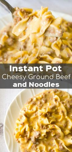 -Instant Pot Cheesy Ground Beef and Noodles is an easy pressure cooker dinner rec.- Instant Pot Cheesy Ground Beef and Noodles is an easy pressure cooker dinner recipe using hamburger meat and egg noodles loaded with mozzarella and cheddar cheese. Egg Noodle Recipes, Easy Meat Recipes, Pasta Recipes, Crockpot Recipes, Diet Recipes, Chicken Recipes, Recipies, Healthy Recipes, Pressure Cooker Recipes Pasta