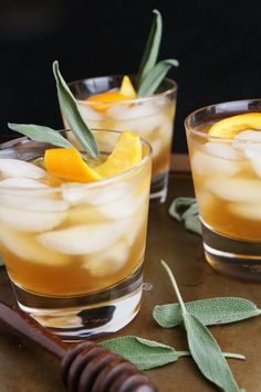 The bite from the orange and the sweetness from the honey sage syrup pair perfectly with Bourbon.