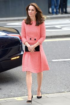 The Duchess of Cambridge wore a matching Eponine London top and skirt to visit a mentoring programme on March 11, 2016. HarpersBAZAAR.co.uk