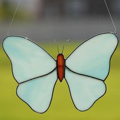 Stained Glass Blue Butterfly/Moth Suncatcher, Big blue butterfly on Etsy
