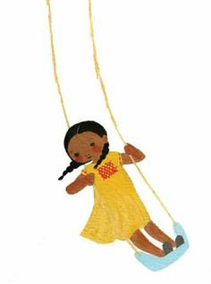 "Julie Morstad, detail of an illustration for Robert Louis Stevenson's poem ""The Swing"".  So cute."