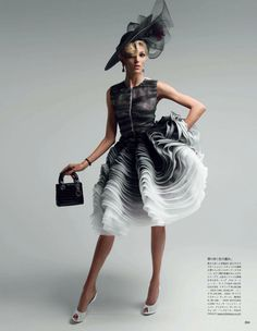 """Anja Rubik in Dior Couture. """"Couture To Adore"""" Photographed by Patrick Demarchelier and Styled by Anna Dello Russo for Vogue Japan, May 2012"""