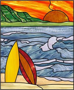 Surfboards & Sunset Leaded Stained Glass Window Panel (Also available insulated and pre-installed in vinyl frame) - StainedGlassWindows.com