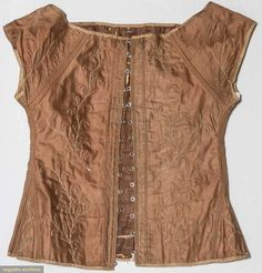 Quilted Brown Corset & Busk, 1820-1830s, Augusta Auctions, November 11, 2015 NYC