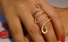 Items similar to Gold ring, brass wrap around ring, forged ring, adjustable ring on Etsy Wrap Around, Heart Ring, Gold Rings, Brass, Unique Jewelry, Handmade Gifts, Awesome, Etsy, Kid Craft Gifts