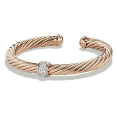 David Yurman Bracelet with Diamonds in 18K Rose Gold ($4,800) ❤ liked on Polyvore featuring jewelry, bracelets, wide bracelet, pave diamond bracelet, diamond jewelry, david yurman bracelet and pave diamond bangle