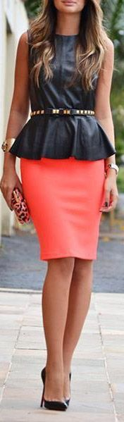 Peplum top and pencil skirt will fit my rectangle shape well to give me curves. This color skirt is for spring/summer.
