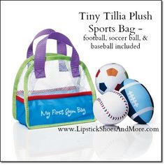 """Tiny Tillia Plush Sports Bag. Mesh bag (7"""" H x 7 1/2"""" W) comes with a crinkly plush football, soccer ball and baseball. Each, 5"""" diam. Made of polyester. Item#: 529830 Price: $12.99 4-piece set"""