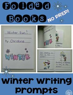 Winter Writing Prompts- folded books! Perfect for independent writing centers NO PREP, lasts the whole season