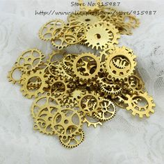 Wholesale Mix 100 pcs Antique gold Charms Gear Pendant Antique bronze Fit Bracelets Necklace DIY Metal Jewelry Making  D0536