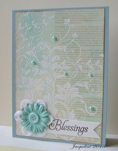 pearls and white embossing