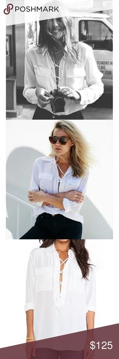 Equipment White 100% Silk Knox Lace Up Shirt 100% silk Lace up front Size XS, but can also fit a S, as Equipment tends to run big! Equipment Tops Blouses