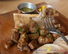 ★ Bone Marrow and Steak Tacos (P485). Roasted corn salsa, flour tortillas, sweet n' spicy salsa verde.    We started with the popular appetizer of beef slices with bone marrow. It is best to eat the bone marrow while it's hot. Although the tortillas were a bit tough, this would still make a good starter for meat lovers out there. :) (via Cue' Modern Barbecue)