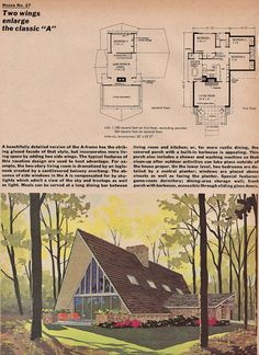 House and Garden Building Guide 1967 A Frame House Plans, Three Bedroom House Plan, A Frame Cabin, Dream House Plans, Small House Plans, House Floor Plans, Tyni House, Dome House, Tiny House Cabin