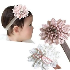 DANMY Baby Girl Super Stretchy Headband Big Lace Petals Flower Baby Hair  Band Newborn Hair Accessories ec1dc06d5028