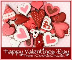 Happy Valentines Day 2014 from CookieCrazie! Valentines Day Cookies, Happy Valentines Day, Cut Out Cookies, Sugar Cookies, Cookie Decorating, Gingerbread Cookies, Sweet Treats, Crafts, February 14