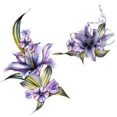 "Photo from album ""Цветы от Barnali Bagchi on Yandex. Tropical Flowers, Purple Flowers, Lily Flower Tattoos, Purple Lily, Decoupage Printables, Ink Addiction, Borders And Frames, Flower Wallpaper, Flower Art"