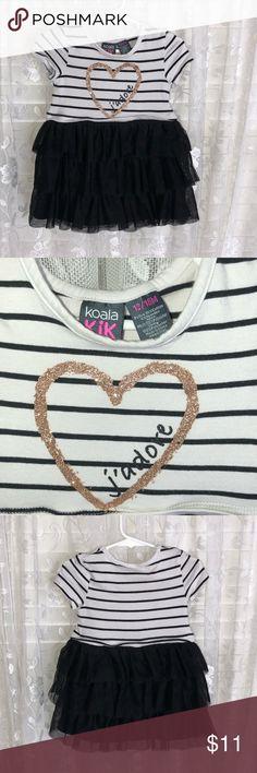 Girl's Koala Kids dress sz 12/18 Koala Kids Black n white striped dress ruffled skirt striped top with gold heart sz 12/18 mths Koala Kids Dresses Casual