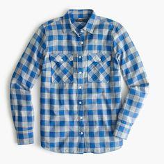 Boyfriend flannel shirt in cerulean plaid