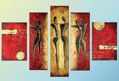 Abstract Dancers  5 panel Multi Canvas Painting by LoveCustomArt