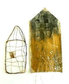 houses. wire and thread; mixed media on cloth. Ines Seidel