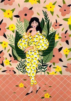 Fashion Illustration Patterns illustrated by Amina Burloiu Kunst Inspo, Art Inspo, Illustrations And Posters, Art And Illustration, Illustration Mignonne, Arte Popular, Graphic Design Inspiration, Gouache, Pop Art