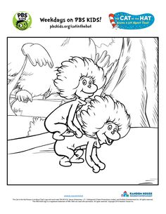 Thing 1 and Thing 2 Coloring Page