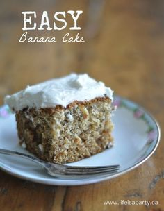 Easy Banana Cake: This one bowl, easy banana cake is a great way to use up your leftover bananas.  The simple, sweet, fluffy vanilla icing takes this recipe from regular to a real treat.