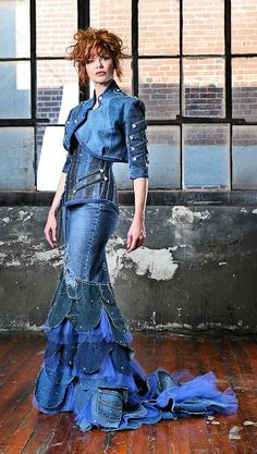 Denim dress, recycling jeans, dress from old jeans