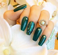 Green nails are really not just for Christmas. They are great with beige tones, whites. Look awesome with a gold accent nail.
