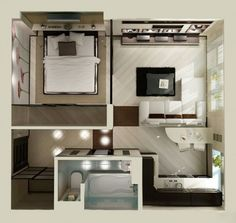 studio apartment floor plan design                                                                                                                                                      Más                                                                                                                                                                                 Más