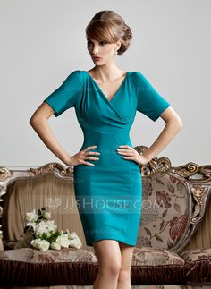 Sheath/Column V-neck Short/Mini Charmeuse Mother of the Bride Dress With Ruffle (008013810)