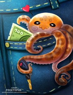 Daily Paint Pocktopus by Cryptid-Creations on DeviantArt Cute Food Drawings, Cute Animal Drawings Kawaii, Kawaii Drawings, Animal Puns, Animal Food, Creature Drawings, Colorful Animals, Cute Cartoon Wallpapers, Cute Funny Animals
