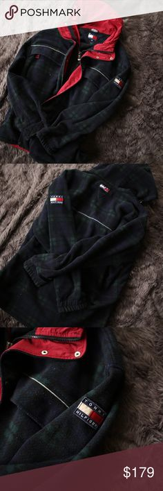 Vintage Tommy Hilfiger Spell Out Logo Plaid Jacket RARE! Green Plaid vintage 90s Tommy Hilfiger Jacket with Large Spell Out logos on the sleeve and on the back under the hood. There is also one on the Hoodie pull! Super warm and big performance coat/jacket in an XL. No flaws whatsoever. In perfect condition! Unicorn 🦄 Tommy Hilfiger Jackets & Coats Performance Jackets