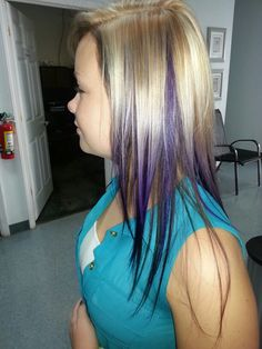 Oldest daughter's two tone highlight on top with peek-a-boo purple with the bottom dark & tapered to the front.  Gorgeous. .