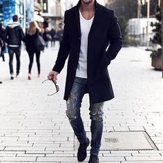 Coat jeans shoes