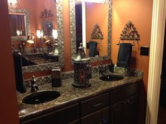 like the under mount sinks. and custom mirrors with stone, glass and metal tile. Tile Bathrooms, Bathroom Countertops, Granite Countertops, Master Bath Remodel, Master Bathroom, Black Toilet, Ceramic Flooring, Custom Mirrors, Towel Bars
