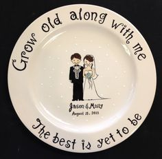 Custom Name Personalized Hand Painted Ceramic Wedding Plate or Anniversary Plate Sharpie Plates, Sharpie Crafts, Sharpie Art, Hand Painted Plates, Hand Painted Ceramics, Pottery Plates, Ceramic Plates, Pottery Painting, Ceramic Painting