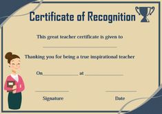 Certificate of Recognition Templates: Best Ideas and Free Samples - Demplates Certificate Of Recognition Template, Certificate Templates, Teacher Certification, Certificate Of Appreciation, Teacher Inspiration, Free Samples, Passport, Are You The One, Good Things