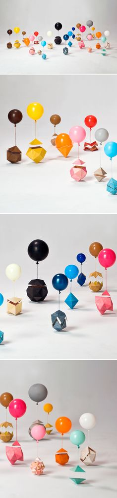 Bright balloons and geometric shapes / art / amy watson