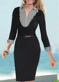 Fine Quality Turndown Collar Black Dress for Lady  on sale only US$15.17 now, buy cheap Fine Quality Turndown Collar Black Dress for Lady  at martofchina.com