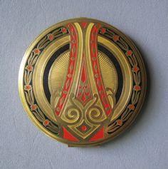 Vintage Powder Mirror Compact Art Deco Concord 4 inch