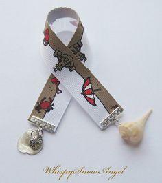 Beach Ribbon Bookmark Real Shells by WhispySnowAngel on Etsy, $5.00