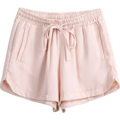 Apricot Elastic Drawstring Waist Straight Shorts featuring polyvore fashion clothing shorts bottoms sheinside short elastic shorts short shorts
