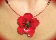 Magnifique collier fleur Coquelicot : Collier par sofymo
